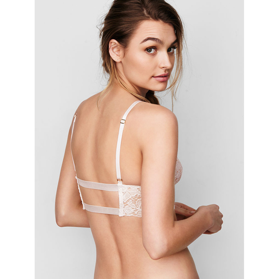 VICTORIA\'S SECRET Long Line Lace Bralette Coconut White On Sale