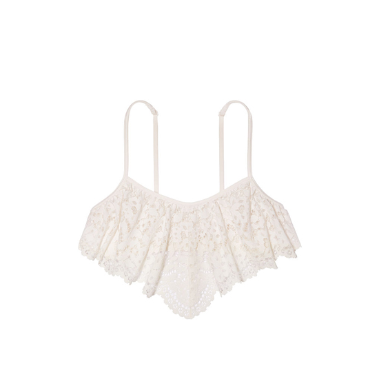 VICTORIA\'S SECRET NEW! The Flutter Bralette Coconut White Lace On Sale