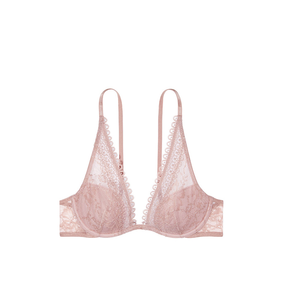 VICTORIA\'S SECRET Crochet Lace Triangle Bra Powder Blush With Burnished Lilac On Sale