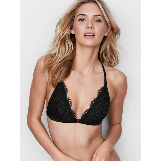 VICTORIA'S SECRET Front-close Bralette Black Crochet Lace On Sale