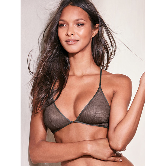 VICTORIA\'S SECRET NEW! Mesh Front-close Bralette Black Pearl Textured Mesh On Sale