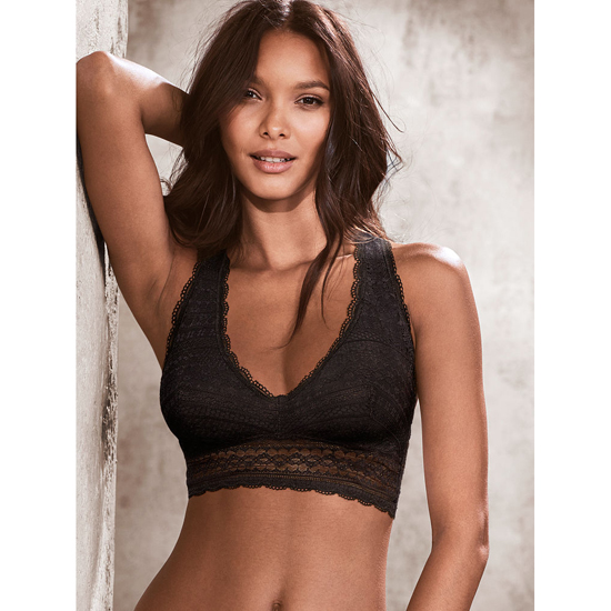 VICTORIA\'S SECRET Lace Racerback Bralette Black On Sale