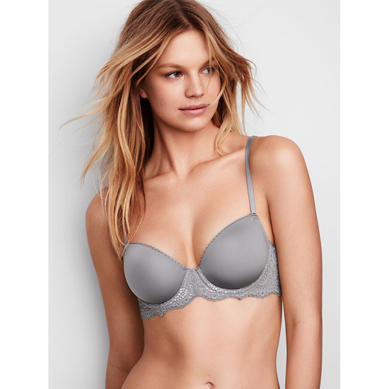 VICTORIA\'S SECRET Demi Bra Sterling Pewter With Solid Lace On Sale