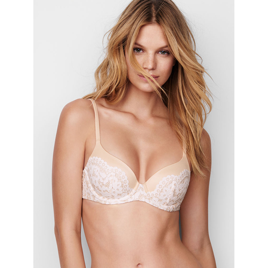 VICTORIA'S SECRET Demi Bra Champagne With Coconut White Crochet Lace On Sale