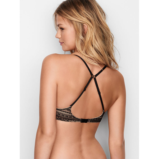 VICTORIA\'S SECRET Lightly Lined Wireless Bra Black Lace On Sale
