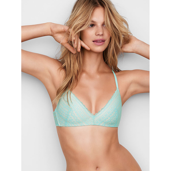 VICTORIA'S SECRET Lightly Lined Wireless Bra Aqua Splash Lace On Sale