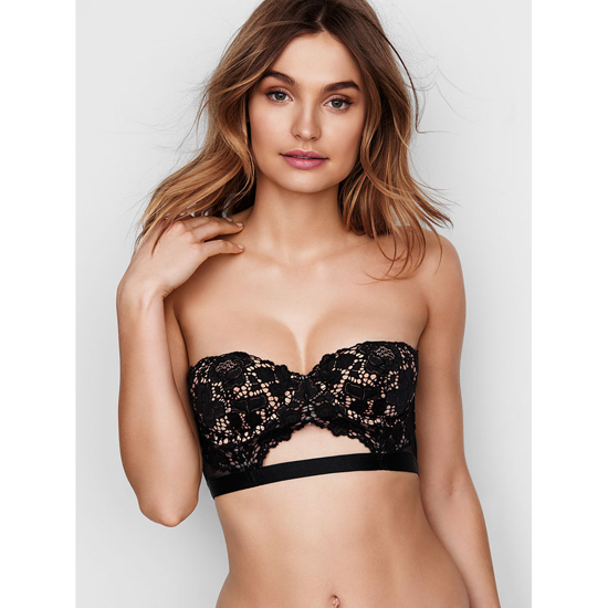 VICTORIA'S SECRET Strapless Lace Bustier Black With New Nude On Sale