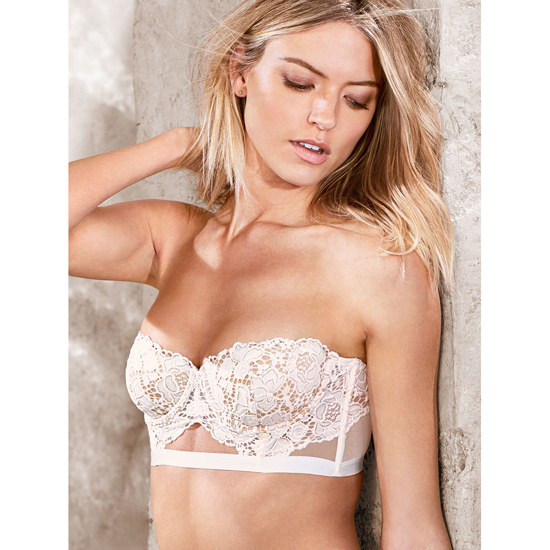 VICTORIA\'S SECRET Strapless Lace Bustier Coconut White With New Nude On Sale