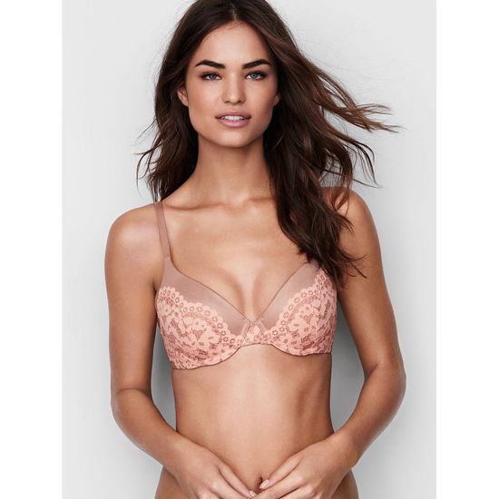 VICTORIA'S SECRET NEW! Perfect Coverage Bra Powder Blush With Peach Melba Crochet Lace On Sale