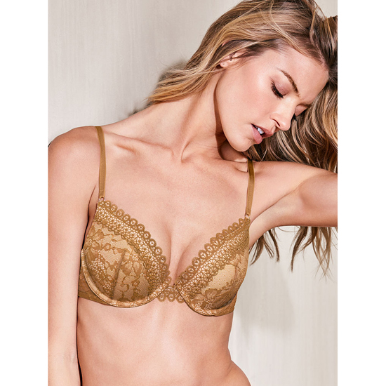 VICTORIA'S SECRET NEW! Push-Up Bra Bronze Brown Crochet Lace On Sale