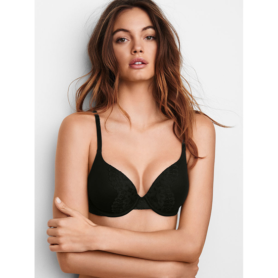 VICTORIA\'S SECRET NEW! Perfect Shape Bra Black W/ Black Lace On Sale