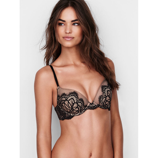 VICTORIA\'S SECRET Push-Up Bra Black Solid Lace On Sale