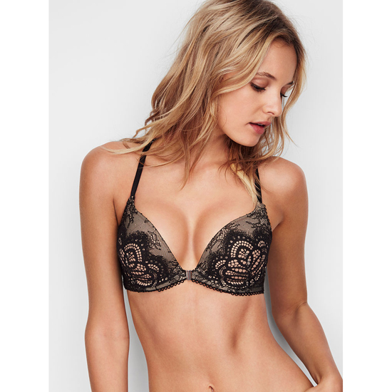 VICTORIA\'S SECRET Push-Up Bra Front-Close Black Lace With Chantilly Lace On Sale