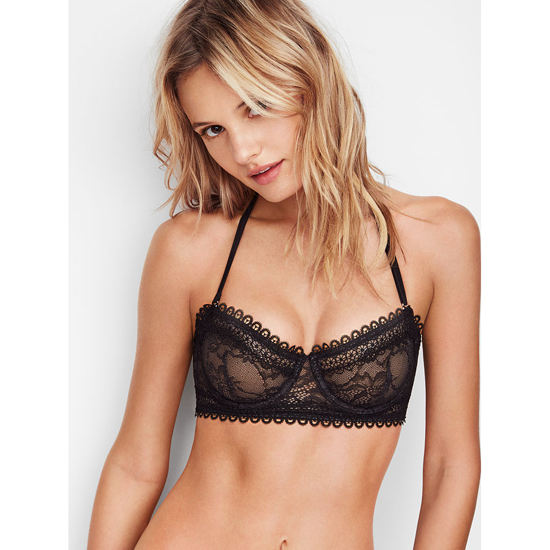 VICTORIA'S SECRET NEW! Lace & Mesh Unlined Strapless Bra Black On Sale