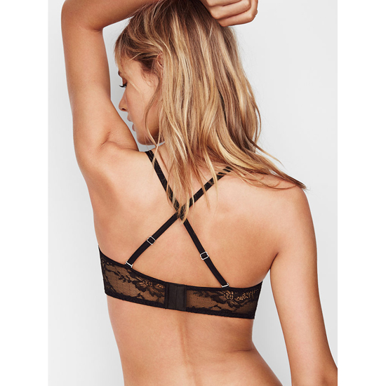 VICTORIA\'S SECRET NEW! Lace & Mesh Unlined Strapless Bra Black On Sale