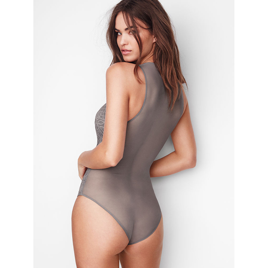 VICTORIA\'S SECRET NEW! Lace & Mesh Bodysuit Sterling Pewter On Sale