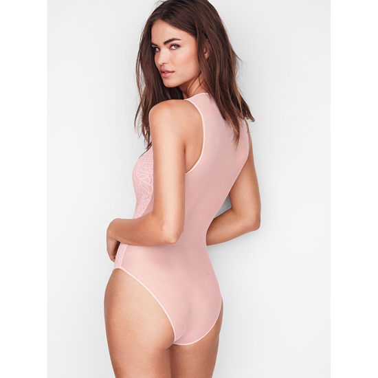 VICTORIA\'S SECRET NEW! Lace & Mesh Bodysuit Sheer Pink On Sale