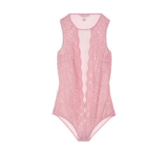 VICTORIA\'S SECRET NEW! Lace & Mesh Bodysuit Winter Rose On Sale