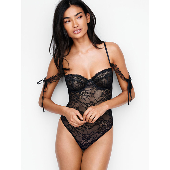 VICTORIA'S SECRET NEW! Lace Off-the-shoulder Bodysuit Black On Sale