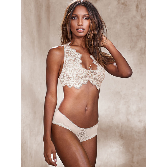 VICTORIA'S SECRET Crochet Lace Hiphugger Panty Coconut White On Sale