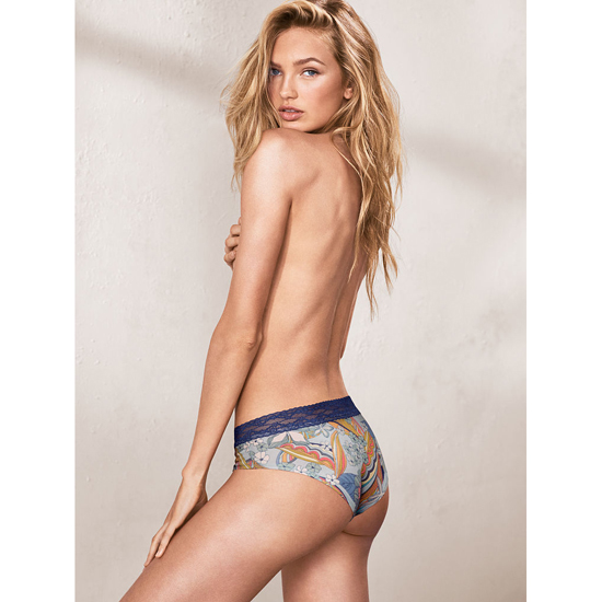 VICTORIA\'S SECRET Lace-waist Hiphugger Panty Blue Summer Floral Print On Sale