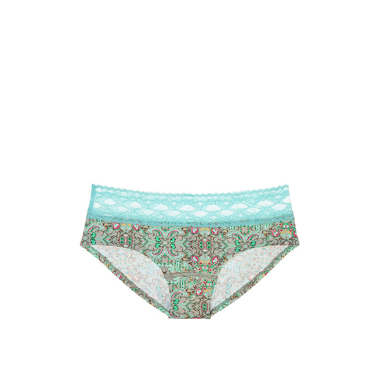 VICTORIA'S SECRET Lace-waist Hiphugger Panty Aqua Small Floral Print On Sale