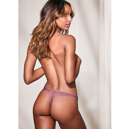 VICTORIA'S SECRET NEW! Textured Thong Panty Gentle Mauve On Sale