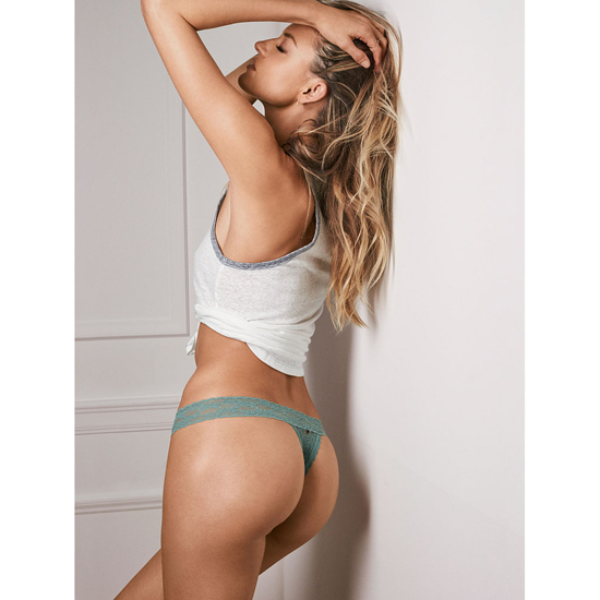 VICTORIA'S SECRET Thong Panty Silver Sea On Sale