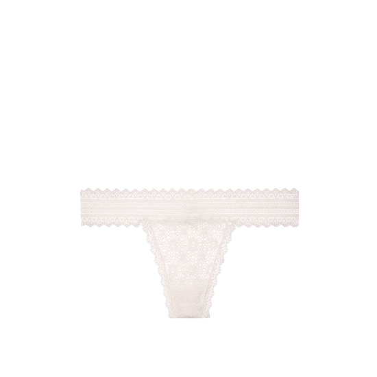 VICTORIA\'S SECRET NEW! Medallion Lace Thong Panty Coconut White On Sale