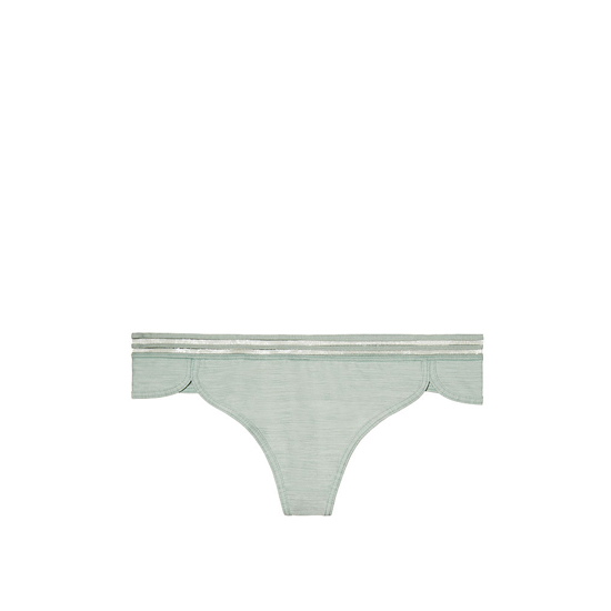 VICTORIA\'S SECRET NEW! Curved-hem Thong Panty Silver Sea Stripe Band On Sale