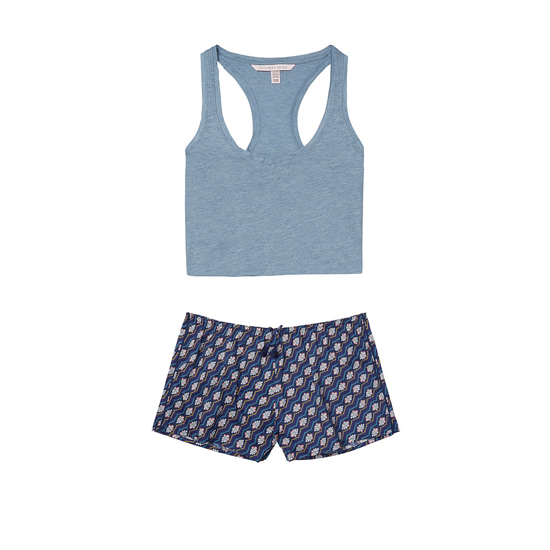 VICTORIA'S SECRET NEW! The Mayfair Tank & Short Set Faded Denim/Ensign Floral On Sale