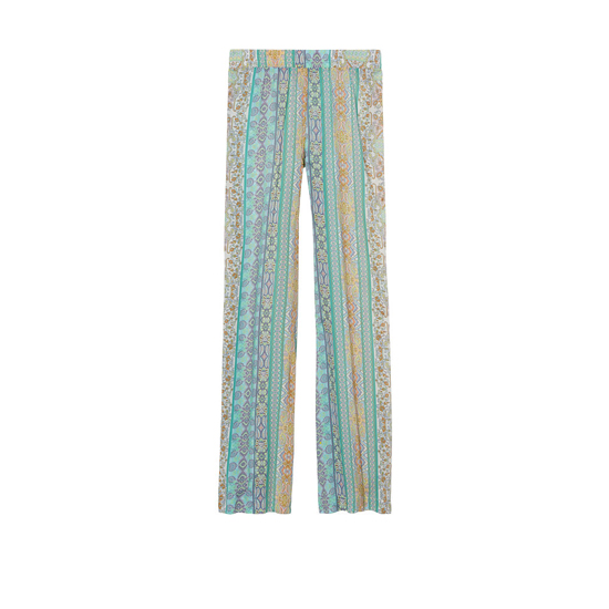 VICTORIA\'S SECRET NEW! Wide-leg Sleep Pant Faded Denim/Lime Paisley On Sale