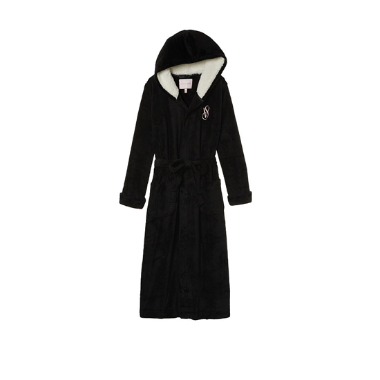 VICTORIA\'S SECRET NEW! The Cozy Hooded Long Robe Black On Sale
