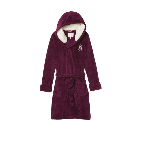 VICTORIA\'S SECRET NEW! The Cozy Hooded Short Robe Ruby Wine On Sale