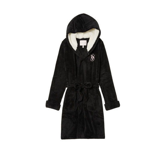 VICTORIA'S SECRET NEW! The Cozy Hooded Short Robe Black On Sale