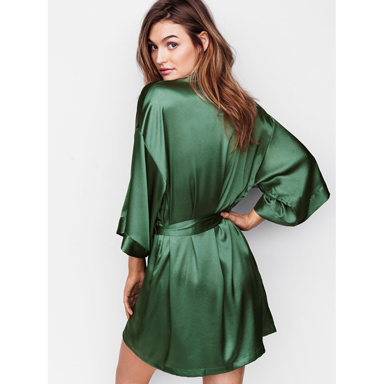 VICTORIA\'S SECRET NEW! Satin Kimono Cadette Green On Sale