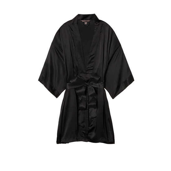 VICTORIA'S SECRET NEW! Satin Kimono Black On Sale