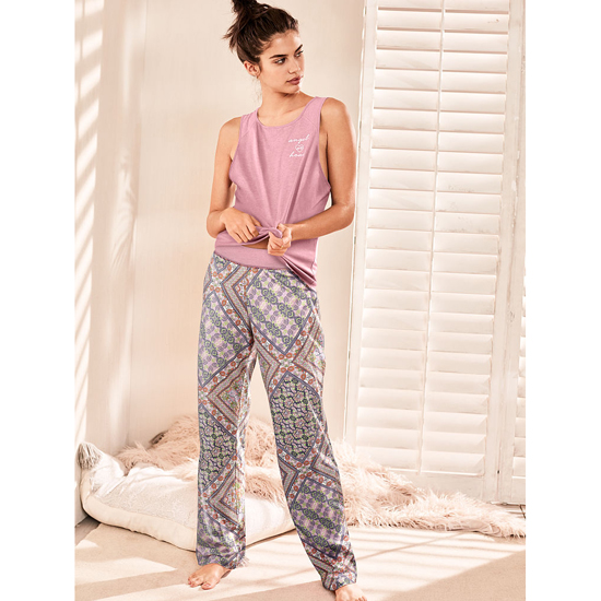 VICTORIA\'S SECRET NEW! The Pillowtalk Tank Pajama Rosey Mauve/Pink Paisley Stripe On Sale