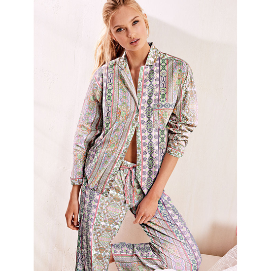 VICTORIA\'S SECRET NEW! The Mayfair Pajama Pink Paisley Stripe On Sale