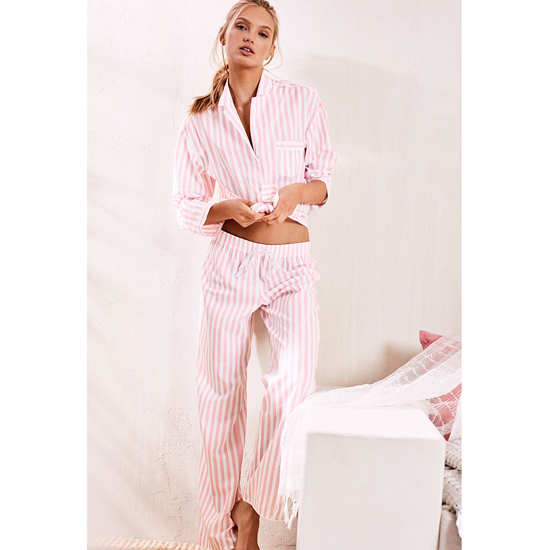 VICTORIA\'S SECRET NEW! The Mayfair Pajama Pink Stripe On Sale