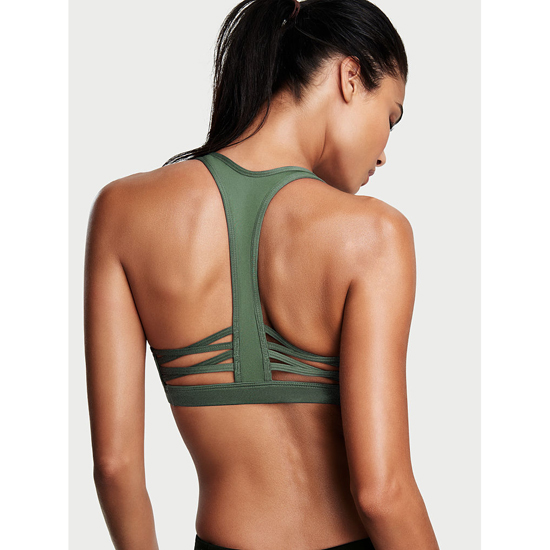 VICTORIA\'S SECRET Caged Racerback Sport Bra Cadette Green On Sale