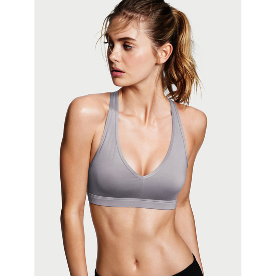 VICTORIA'S SECRET Caged Racerback Sport Bra Grey Oasis On Sale