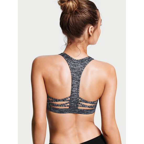 VICTORIA\'S SECRET Caged Racerback Sport Bra Black Marl On Sale