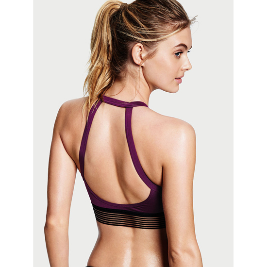 VICTORIA\'S SECRET High-neck Keyhole Sport Bra Grape Soda On Sale