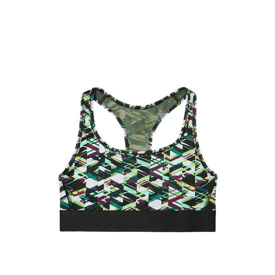 VICTORIA\'S SECRET NEW! The Player by Victoria Sport Racerback Sport Bra Cool Linear Waves On Sale