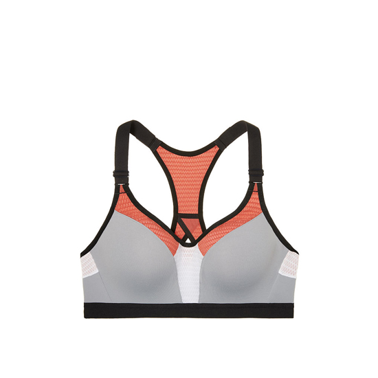 VICTORIA\'S SECRET NEW! Incredible by Victoria Sport Bra Grey Oasis/Ginger Glaze Mesh Curves On Sale