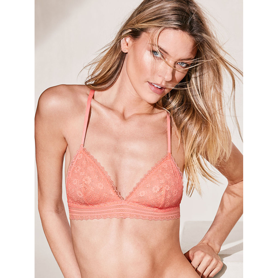 VICTORIA\'S SECRET Crochet Lace Triangle Bralette Lipsmacker Peek-A-Boo On Sale