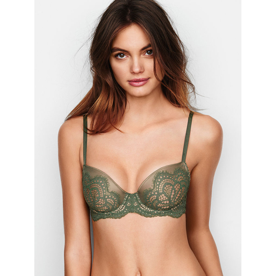VICTORIA'S SECRET Demi Bra Cadette Green Solid Lace On Sale