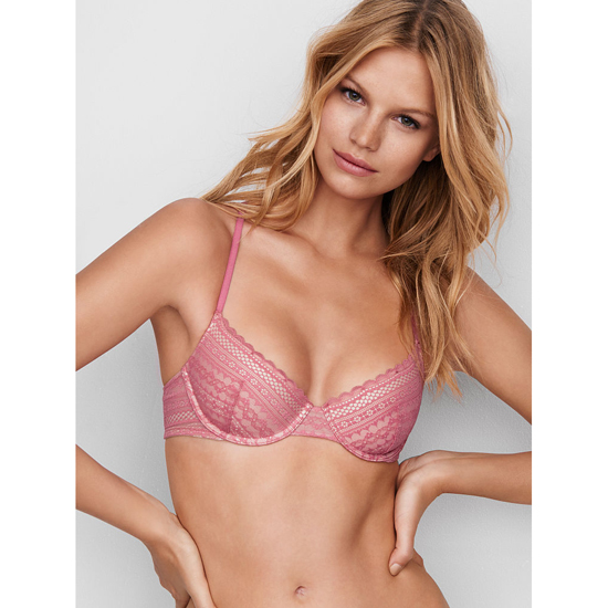VICTORIA'S SECRET NEW! Lightly Lined Demi Bra Rosy Mauve Lace On Sale