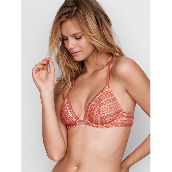 VICTORIA'S SECRET Lightly Lined Triangle Bralette Ginger Glaze Lace On Sale